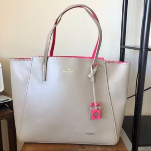 Kate Spade Tan/Pink Cow Leather Tote Bag
